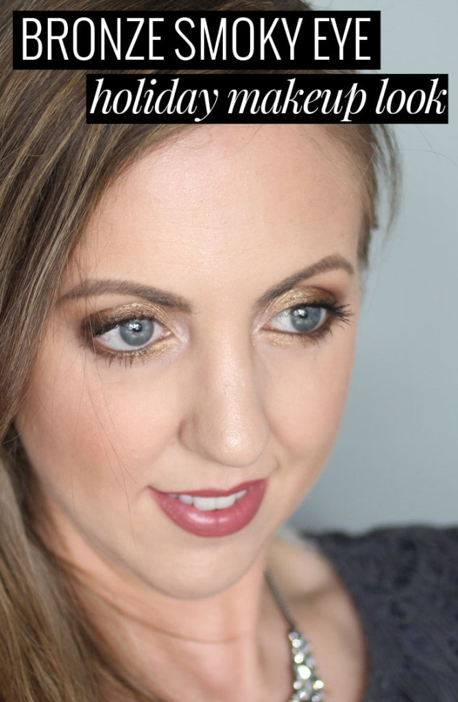 Bronze Smoky Eye Holiday Makeup Look - click through for the tutorial on this glam look!