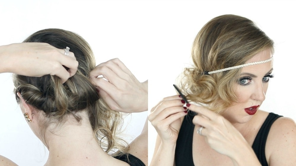 Easy Halloween hair tutorial for a 1920s flapper